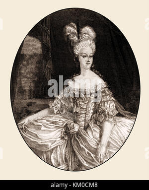 Marie Antoinette or Maria Antonia Josepha Johanna, 1755 - 1793, Queen of France, - Stock Photo