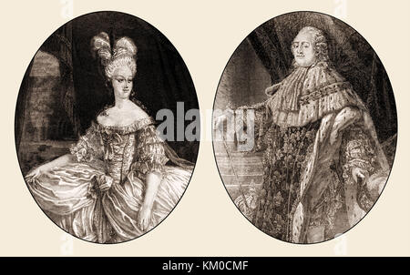 Louis XVI, king of France and Marie Antoinette, Queen of France - Stock Photo