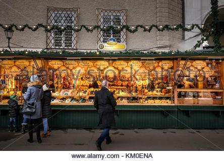 SALZBURG, AUSTRIA - December 3- Christkindlmarkt Christmas market in Salzburg, Austria - Stock Photo