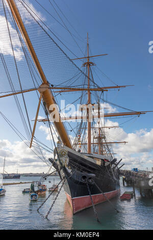 HMS Warrior 1860, first iron clad warship, designed by Issac Watts and Tomas Lloyd, , Portsmouth, Hampshire, England, - Stock Photo