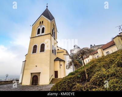 Church of the Birth of Virgin Mary in Trencin, Slovakia - Stock Photo