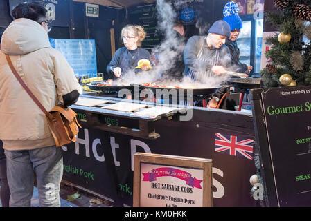 A Hot Dog stall at the St Nicholas Fair, York, UK - Stock Photo