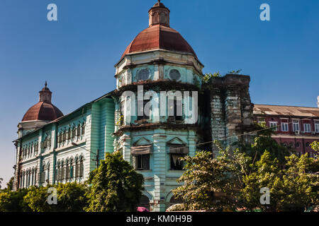 British colonial architecture in the downtown of Yangon, Myanmar - Stock Photo
