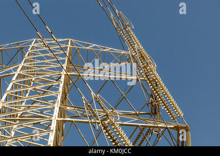 Electrical grid in modern city. Climate change is forcing change to green energy base load power but the power grid - Stock Photo