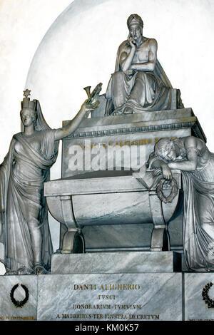 Durante degli Alighieri , simply called Dante 1265 – 1321  Funerary monument - Tomb in the Santa Croce ( The Basilica - Stock Photo