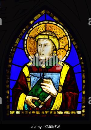 Diacono stained glass window by Pacino di Buonaguida (1280–1340)  Santa Croce ( Church )  ( Saints )  Italian painter - Stock Photo