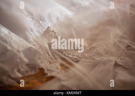 beautiful white wedding veil with lace - Stock Photo