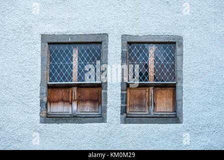 Old lattice windows with shutters, 17th century Hanseatic Merchant House, Lambs House, Leith, Edinburgh, Scotland, - Stock Photo