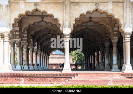 AGRA, INDIA - MARCH 17, 2016: Horizontal picture of the interior of Diwan I Am inside Agra Fort, landmark of India - Stock Photo