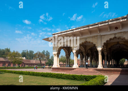 AGRA, INDIA - MARCH 17, 2016: Horizontal picture of the exterior of Diwan I Am inside Agra Fort, landmark of India - Stock Photo