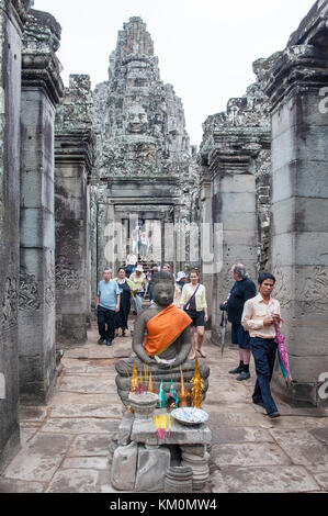 Buddha image at Bayon in Angkor Thom, Siem Reap, Cambodia. - Stock Photo