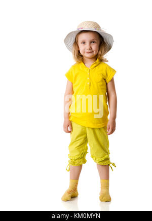 Excited Little Girl standing wearing hat isolated on white - Stock Photo