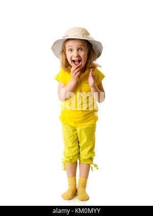 Excited Little Girl shouting clapping hands isolated on white - Stock Photo