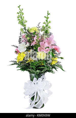 Florist Bouquet of mixed flowers in a vase with ribbon isolated against a white background. - Stock Photo