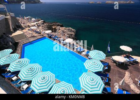 The Ariston Hotel, Lapad town, Dubrovnik, Dalmatian coast, Adriatic Sea, Croatia, Europe. - Stock Photo