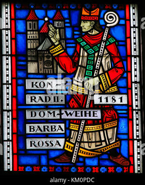 Stained Glass in Wormser Dom in Worms, Germany, depicting Konrad II von Sternberg, the Bishop who ordered the Construction - Stock Photo