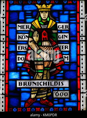 Stained Glass in Wormser Dom in Worms, Germany, depicting the Frankish Queen Brunichildis of Austrasia, who lived - Stock Photo