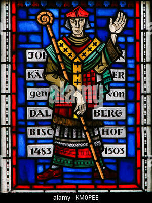 Stained Glass in Wormser Dom in Worms, Germany, depicting Johann von Dalberg (1445–1503), Prince-Bishop of Worms - Stock Photo