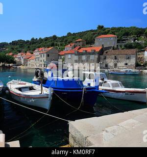 Summer view over Sipan Island, one of the Elaphiti Islands near Dubrovnik, Dalmatian coast, Adriatic Sea, Croatia, - Stock Photo