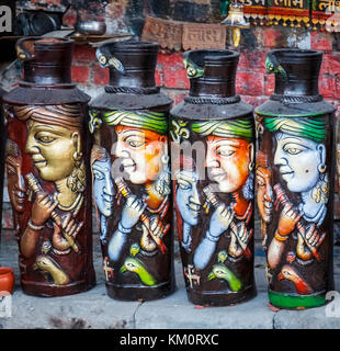 Ceramic pots on display for sale as tourist souvenirs in Amritsar, a city in north-western India in the Majha region - Stock Photo