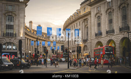 London, UK - July 2017. View of Regent Street from Piccadilly Circus. Landscape format. - Stock Photo