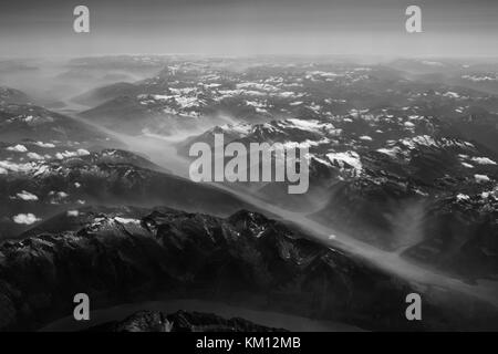 Ariel view over the Canadian Rocky mountains, British Columbia, Canada - Stock Photo
