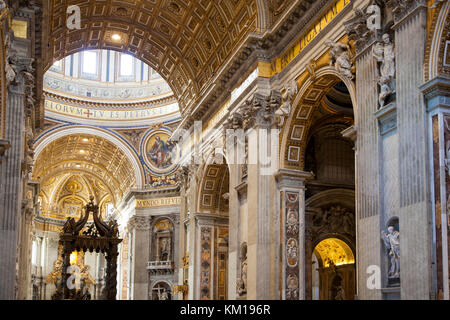 The interior of St. Peter's Basilica at the Vatican City, Rome, Italy. - Stock Photo