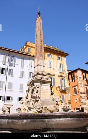 Pantheon, Detail of fountain on Piazza della Rotonda in Rome, Italy - Stock Photo