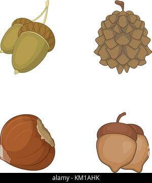 Nuts icon set, cartoon style - Stock Photo