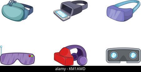 VR icon set, cartoon style - Stock Photo