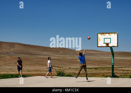 Basketball field in the national park of Hustai, Mongolia - Stock Photo