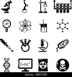 Chemistry laboratory icons set, simple style - Stock Photo