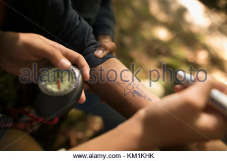 Girl with marker and compass drawing directions on forearm of boy - Stock Photo