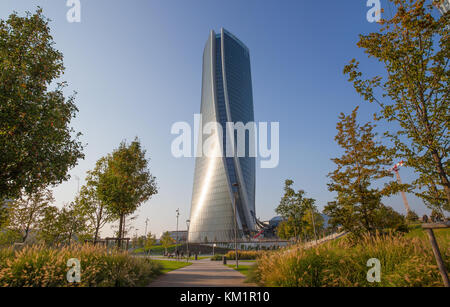 MILAN, ITALY, OCTOBER 13, 2017 - Hadid Tower in 'City Life' complex in 3 Torri Milan place, modern buildings and - Stock Photo
