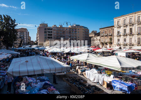 Big market in Catania in Sicily Italy - Stock Photo