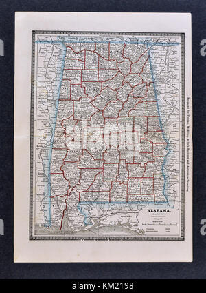 George Cram Antique Map from 1866 Atlas for Attorneys and Bankers: United States - Alabama - Birmingham Montgomery Auburn Tuscaloosa Gulf Shores
