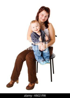 Happy mother holding one year son isolated on white - Stock Photo