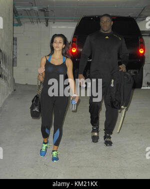 SMG_LA1_Kim Kardashian_Bush_WORKOUT_022309_21.JPG  LOS ANGELES, CA - FEBRUARY 22: Television personality Kim Kardashian - Stock Photo