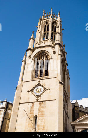 Spire of 19th Century neo-gothic St Dunstan-in-the-West church by John Shaw Sr, Fleet Street, City of London, UK - Stock Photo
