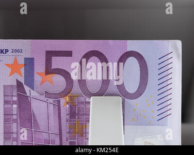 five hundred euro banknotes in a counting machine - Stock Photo