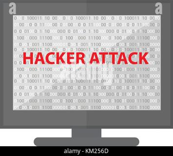 Computer hacking system icon. Monitor with binary code and hacker attack. Isolated on white background. Vector illustration. - Stock Photo