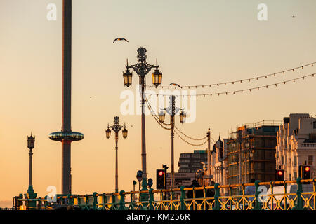 Sunset on Brighton seafront, East Sussex, England. - Stock Photo