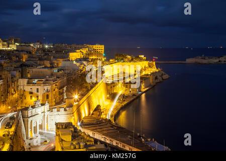 Night falls in Valletta, Malta. - Stock Photo
