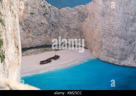 Aerial view of Shipwreck Bay Navagio Beach, Zakynthos - Stock Photo