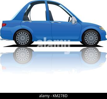 cartoon blue car - Stock Photo