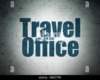 Vacation concept: Travel Office on Digital Data Paper background - Stock Photo