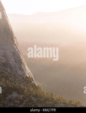 Half Dome with dramatic lighting in Yosemite National Park, California, USA - Stock Photo
