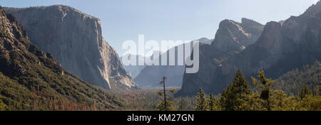 Famous Tunnel View in the Yosemite Valley, Yosemite National Park, California, USA - Stock Photo