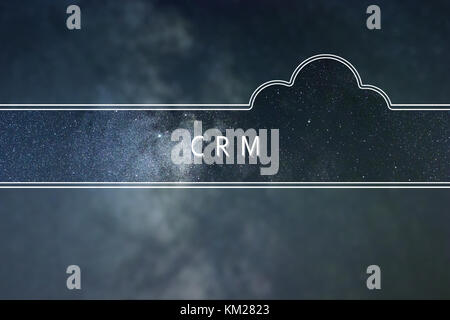 Customer relationship management CRM word cloud Concept. Space background. - Stock Photo