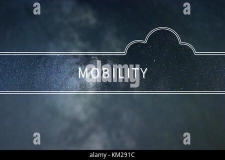 MOBILITY word cloud Concept. Space background. - Stock Photo